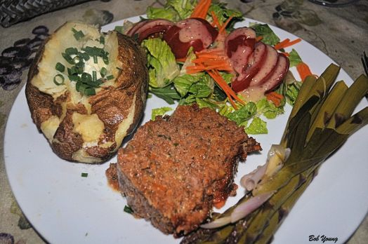Ridge Winery Lamb Meatloaf Baked Idaho Potato with Creme Fresh and Chives Fresh Green Salad with Tomatoes