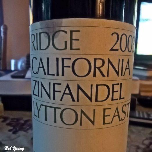 2003 Ridge Winery Lytton East Zinfandel. AP - $164.00!
