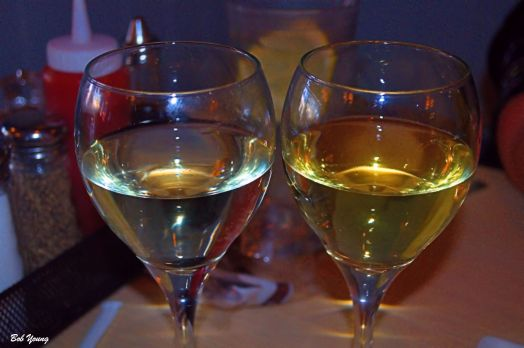 Sauvignon Blanc (Chile) on the left and a Kendal Jackson Chardonnay on the right. Look at the color difference.