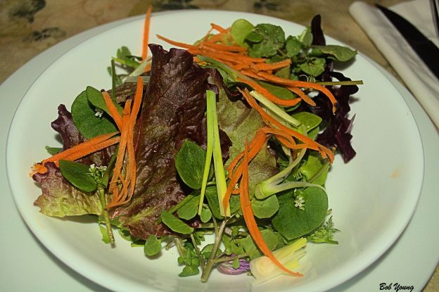 Green Salad with Miner's lettuce, slivered carrots and green onion Olave Coratina Olive Oil and Agrestum Balsamic Vinegar Dressing