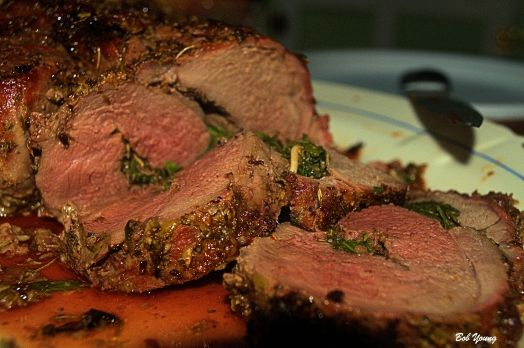 Arugula Stuffed Leg of Lamb
