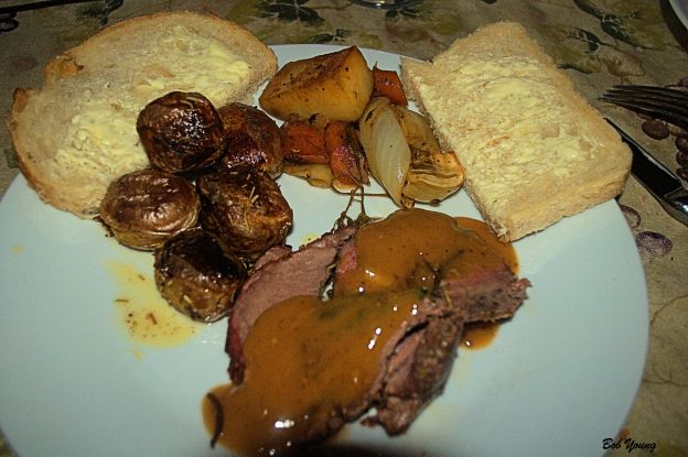 Arugula, Spinach and Miner's Lettuce Stuffed Leg of Lamb Oven Roasted Rosemary Yukon Gold Potatoes Roasted Vegetable Medley Acme Bake Shop Sourdough Bread