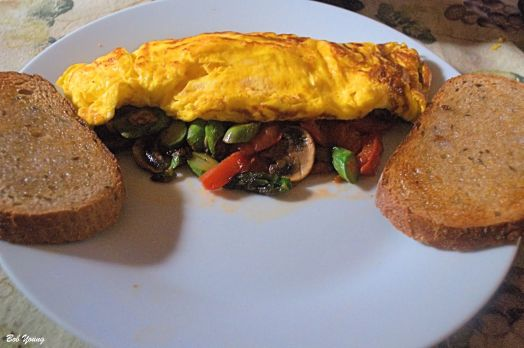 Asparagus, Mushroom and San Marzano Tomato Omelet Acme Bake Shop Toasted Rye