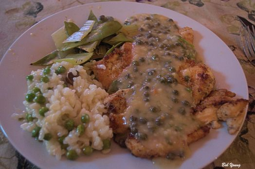 Chicken Piccata with Truffle Risotto and Peas and Steamed China Peas and Celery. 1990 Indian Creek (Idaho) Chardonnay