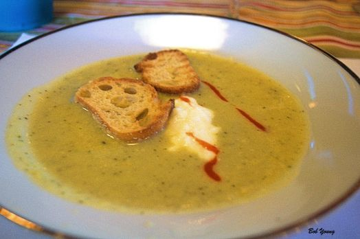 Herbed Zucchini Soup 2012 Monte Fresco 13% alc. good choice with the spice in the soup. great soup