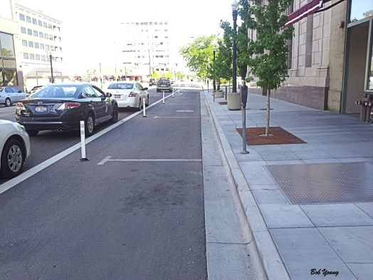 Protected bike lane in downtown Boise. I do like them very much!