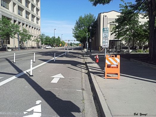 More of the protected bike lane.