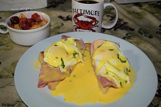 Modified Eggs Benedict Fresh Strawberries Coffee