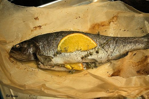 At 400 degrees F it takes about 20-25 minutes to steam this fish. Be careful when opening the packet, there is steam inside.