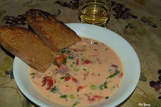Coconut Shrimp Soup Acme Bake Shop Red Wheat Toast Pinot Grigio