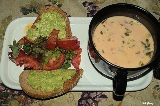 Avocado and Garlic Bruschetta Green Salad Shrimp Soup