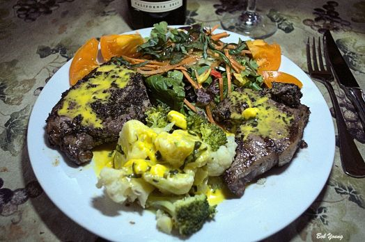 Grilled Marinated Lamb Chop Cauliflower and Broccoli with Special Hollandaise Fresh Green Salad