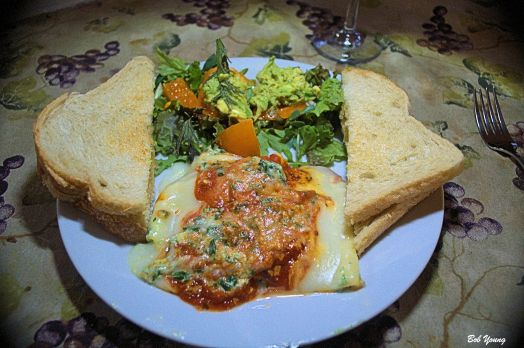Ricotta Spinach Cannelloni Acme Bake Shop Toated Sourdough Fresh Green Salad with Avocado and Garlic Dressing 2009 Santa Margherita Chianti Classico Reserva