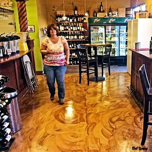 Cristi is in the Growler Bar area. Check out those floors!