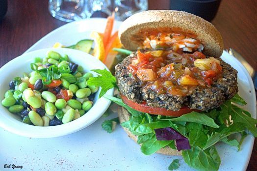 or maybe you would like this Veggie Burger made with goat cheese, mango and peach salsa, spring greens, walnuts and portobello mushrooms. This is almost better than the Mock Tuna.