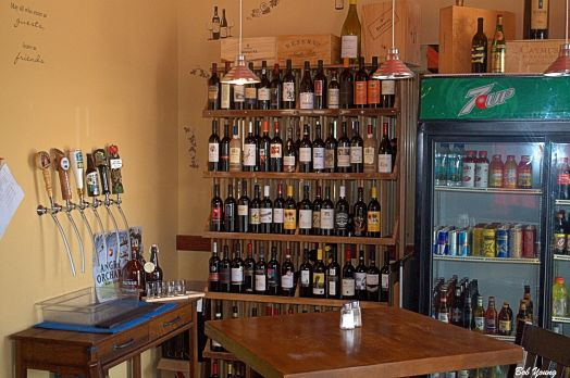 The new Growler Fill Station and location of the wines. Just inside the State Street door and to the right.