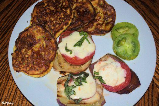 Eggplant Pizza Zucchini Pancakes Sliced Garden Fresh Green Zebra Tomatoes