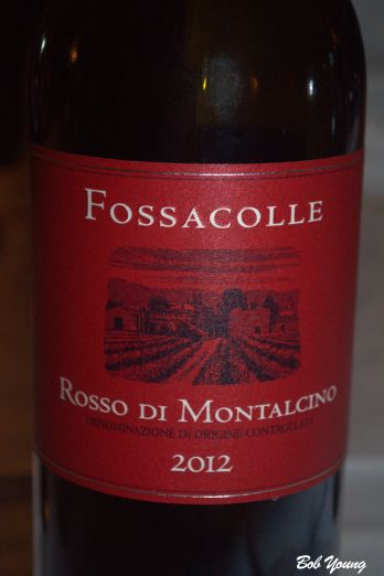 Fossacolle Rosso di Montalcino Great paring with the boar. Great Tuscan wine. Produced on 6 acres and 1000 bottles a year. We bought a bottle. (We'll worry about our meds next month!)