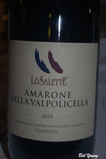 "Le Salette Amarone della Valpolicella Classico Went superbly with the quail and risotto. From Verona, ""Valley of many Cellars"". Superb, full bodied red wine at 15% alcohol."