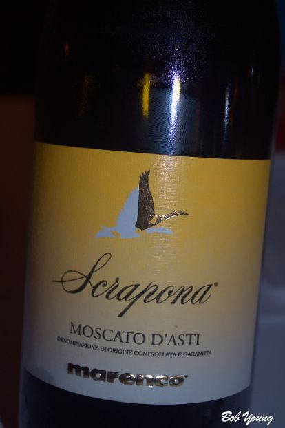 """Marenco Scrapona Moscato d'Asti From the Piedmont region. This is described as """"A rainbow in your mouth."""" Yes, it is well worth getting some. We did."""