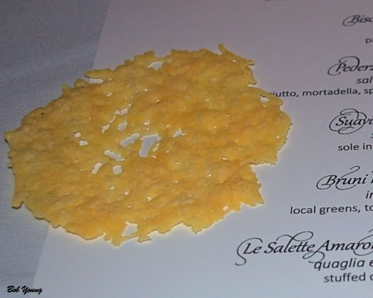 The opener - Frico (parmesan crisps) served with Bisol Jeip Prosecco