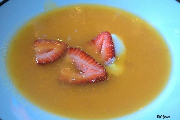 Chilled Peach Soup (Royal Caribbean) Spain 2011 Tierras Guindas 13.5% alc. a super good wine with this super good soup [17]