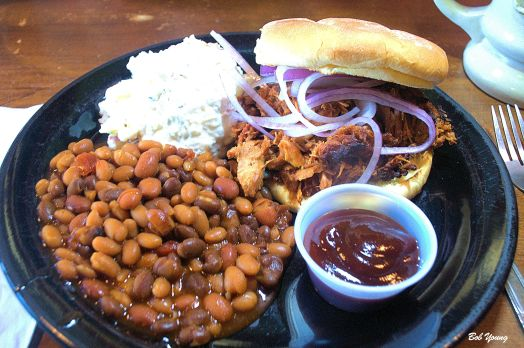 Our dinner Baked Beans Potato Salad Pulled Pork Sandwich and don't forget the new beer taps.