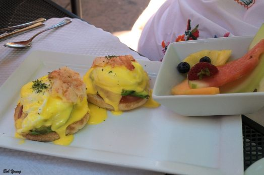 Robin had this amazing  Crab Benedict with Fresh Fruit