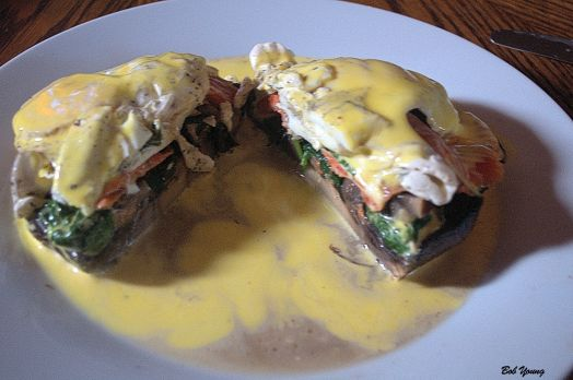Non-Traditional Eggs Benedict Grilled Prtabella Mushroom Spinach 2 Meadowlark Farms Poached Eggs Housemade Hollandaise Sauce