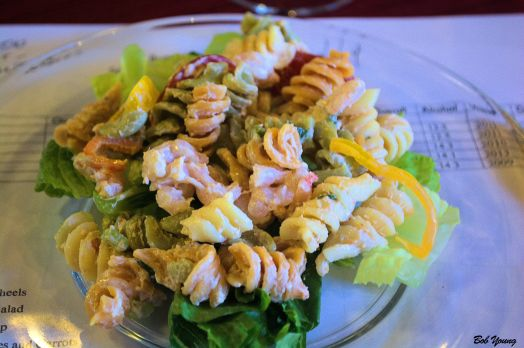 Shrimp Louis Pasta Salad 2011 Willamette Chardonnay 12.5$ alc. very light on the bouquet but moderate balance and finish. Went well with the salad. Good salad!
