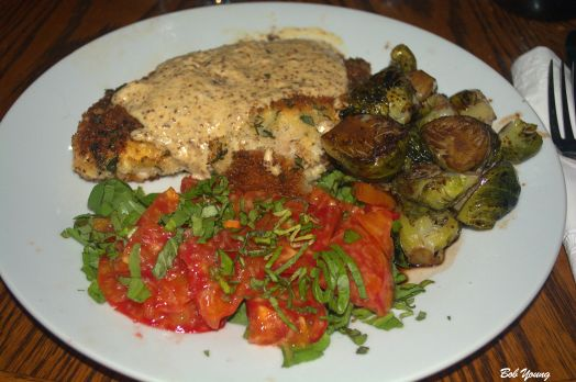 Braised Skinless Chicken Breast with mustard cream sauce Brussel Sprouts with balsamic and blood orange reduction Heirloom Tomatoes with basil threads