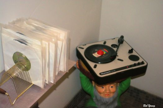 45 rpm records in the Men's Room and they say, in the Women's Room.