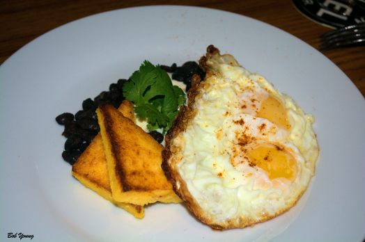 Fried Egg Moroccan Black Beans with Lemon Cream Polenta