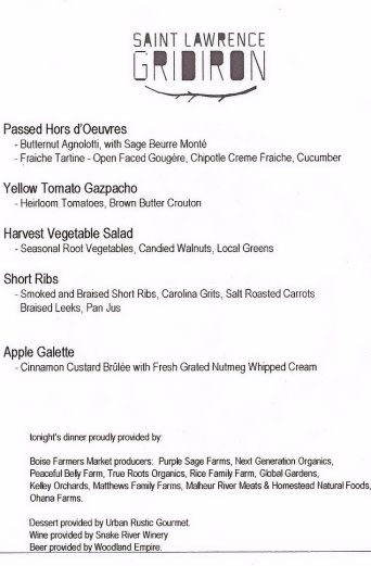 The wonderful menu!