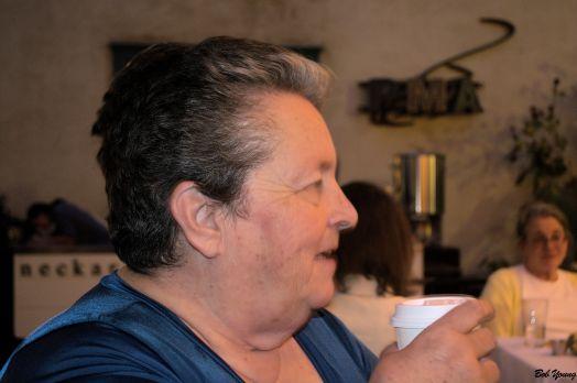 Robin enjoys some Neckar Coffee.