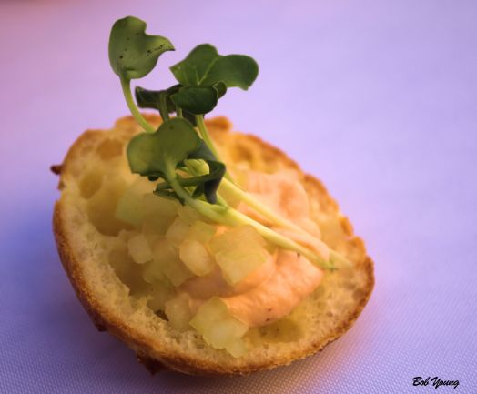 Fraiche Tartine open faced gougere chipotle fraiche cucumber