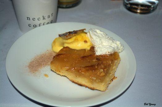 Apple Galette cinnamon custard brulee with fresh grated nutmeg whipped cream
