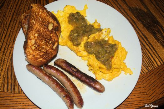 Scrambled Eggs Tomatillo Salsa Verde Sausage Acme Bake Shop Toast