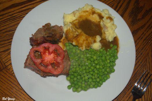 Housemade Meatloaf Mashed Potatoes Gravy Peas Sliced Heirloom Tomato