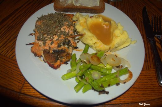 Stuffed Chicken Breasts spinach, mushrooms and onion Acme Bake Shop Rye toast Mashed Potatoes and Gravy