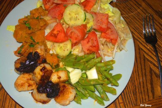 Orange Braised Scallops Sweet Potatoes Green Salad with Bean Sprouts and Cucumber Asparagus 2013 Bedrock Winery Abrente