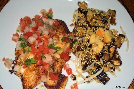 Braised Talapia and Salsa Braised Eggplant and Onion with Quinoa