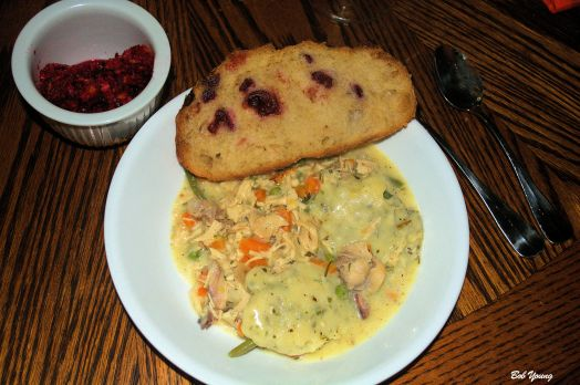 Skillet Chicken and Dumplings Acme Bake Shop Cranberry Sourdough Bread Housemade Cranberry Relish