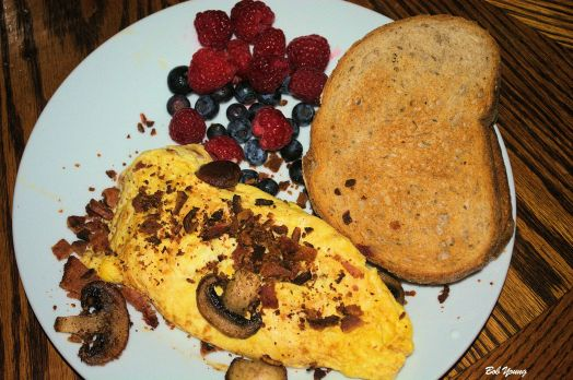 Bacon and Mushroom Omelet Fresh Blueberries and Raspberries Acme3 Bake Shop Toasted Rye Bread
