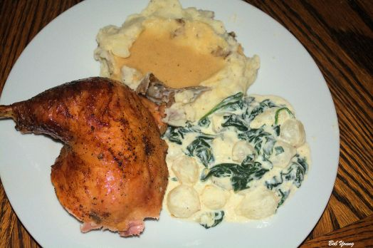 5 Hour Chicken Mashed Potatoes and Gravy Creamed Onions and Spinach