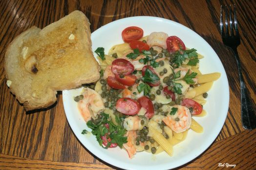 Start off with Shrimp Pasta Acme Bake Shop Garlic Sourdough