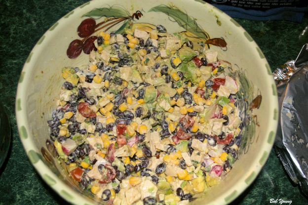Black Bean, Corn and Avocado Salad. Another yum offering.