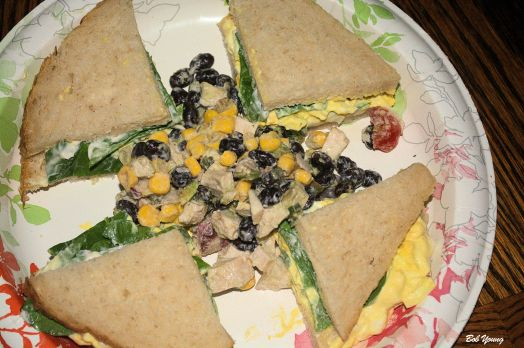 Egg Salad on Sourdough with Water Cress. Corn, Chicken, Avocado and Black Bean Salad.