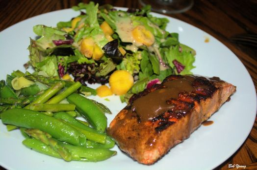 Asian Grilled Salmon Fresh Asparagus and Snap Pea Saute Green Salad with Yellow Heirloom Carrots