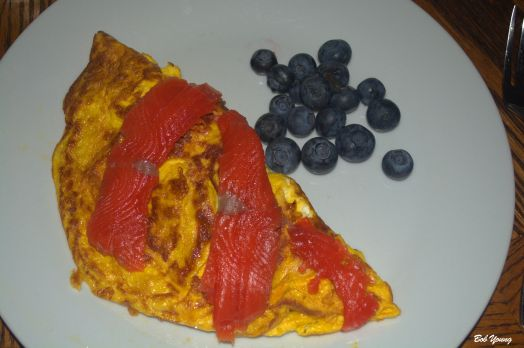 Grilled Asparagus and Robin's Icebox Lox Omelet Fresh Fruit